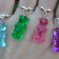Gummy Bear Ring// Dangle Charm Ring, Silver ring, Dangle Ring, Charm Ring, Wire Ring, Quirky ring, Fun, Dainty Ring, Stackable, Gift