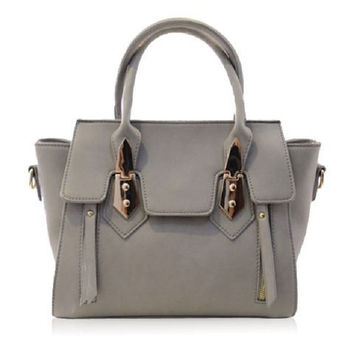 Fashion Women's Tote Bag With Metallic and PU Leather Design