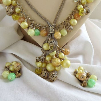 Vintage Mesh Chain & Yellow, Orange and Green Lucite Beads with Filigree Balls Necklace and clip Earrings Set