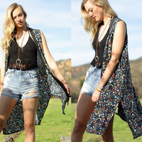 Women Summer BOHEMIAN CASUAL FLOWER LONG VEST Cardigan Kimono RUANA SIDE SLIT