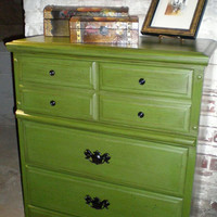 Four Drawer Chest with Antique Green Finish