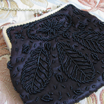 Vintage 1960s Beaded Clutch Black Leaf and Floral Glass Beaded 60s Evening Purse