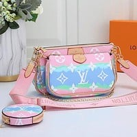 Inseva LOUIS VUITTON LV Women Shoulder Bag Three Suit Crossbody Bag Colorful Light pink&Cyan