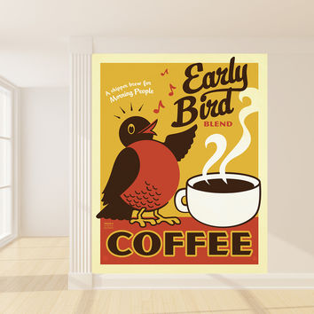 Anderson Design Group's Early Bird Coffee Mural wall decal