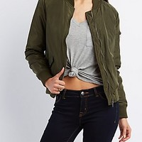 FLAP POCKET ZIP-UP BOMBER JACKET