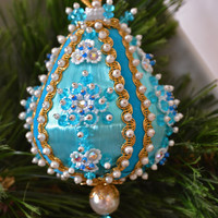Large Vintage Handmade Teal Satin Sequin And Beaded Christmas Ornament