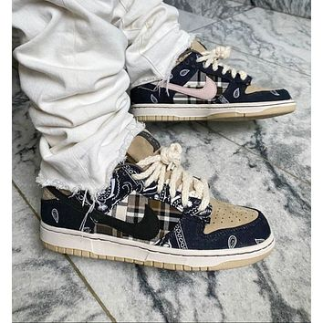 "Travis Scott x Nike SB Dunk Low ""Jackboys"" cashew flower joint low-cut classic all-match casual sports shoes sneakers"