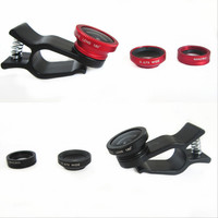 3 In 1 Universal Clip camera Mobile Phone Len Fish Eye + Macro + Wide Angle for iphone 6 5 4 Samsung S4/S5 note2 Fisheye