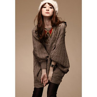 Coffee Colored Asymmetrical Knitting Plus Size Sweaters