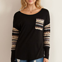 Pattern Sleeve Top - Black