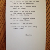 Perks of Being a Wallflower Typewriter Quote