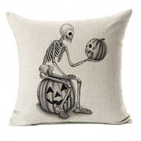 2018 New Pillow Case 45*45 Halloween Skull And Pumpkin Throw Pillow Case Cushion Cover Decor 18x18inch NEW M12
