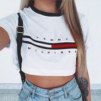 Trendy Tommy hilifiger inspired retro crop top tshirt