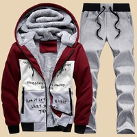 winter men sweat suits fleece warm mens tracksuit set casual Sportwear suits jacket + pants and sweatshirt set Plus size xxxxl