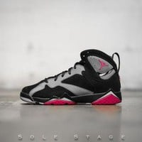 DCCKL8A Beauty Ticks Nike Air Jordan 7 Retro Gg Black/sprt Fchs-cl Gry-wlf Gry Basketball Shoes 442960 008