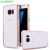 S7/S7 Edge Electroplated Gilded Clear Hard PC Slim Case For Samsung Galaxy S7/S7 Edge Transparent Plating Crystal Phone s7 Cover