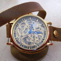 Stylish Retro Leather Band Manual-Winding Mechanical Skelton Gold Watch. 20% Off - 79 Dollars Only. Xmas Gift FREE SHIPPING