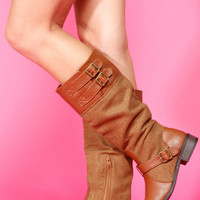 Chestnut Faux Leather Strap and Buckle Riding Boots