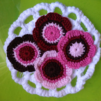 Set of 4 Hand Crochet Flower Appliques Embellishment Coasters -Chocolate Brown, Candy Pink, Cotton Candy Pink & Apple Red