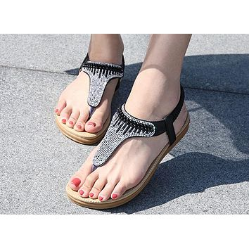 Fashion sandals Bohemian diamond pearl foreign trade women's shoes Black