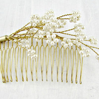 Vintage Pearl Bridal Hair Comb, Gold Wired Hair Comb, Wedding Flower Hair Comb, Art Nouveau Hair Comb, 1950s Fashions, Hair Accessory