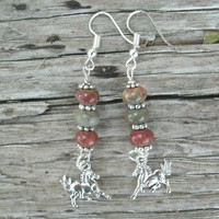 Horse Earrings, double sided silver running horses, earth tones, Picasso Jasper rondelle beads, silver plated french style wires, horses