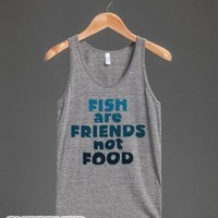 Friends Not Food-Unisex Athletic Grey Tank