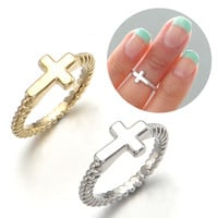 Sideways Horizontal Cross Twisted Band Midi Tip Finger Above The Knuckle Ring