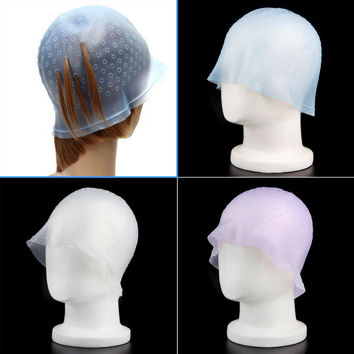 Reusable Professional Salon Silicone Hair Color Coloring Highlighting Dye Cap Hair Color Styling Tools for Hair Extension