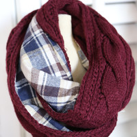 Cable Knit + Plaid Infinity {Burgundy} - Burgundy