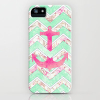 Pink Nautical Anchor Teal Floral Chevron Pattern iPhone Case by Girly Trend   Society6