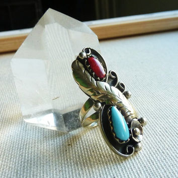 Wild Feather. Bohemian Vintage Ring.  Size 7