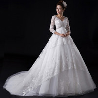 Beautiful lace beaded long sleeved 2015 new V neck Princess bride wedding dress pregnant small train = 1930069828