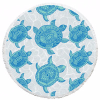 Turtle printed beach towel Round Hippie Tapestry Beach Throw