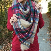 The Perfect Blanket Scarf - Red/Tan