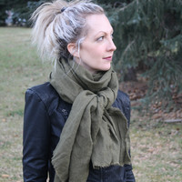 Linen Scarf, Olive Green