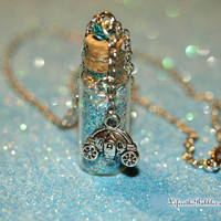 Cinderella Necklace, Bottle of Happily Ever After Princess Magic with a Pumpkin Carriage Charm