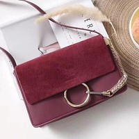 """Chloe"" Popular Women Shopping Leather Shoulder Bag Crossbody Satchel Burgundy"