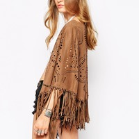 Glamorous Kimono in Faux Suede Cutwork at asos.com