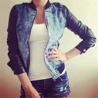 hot jeans PU length short coat jackt