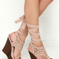 Lift Wrap Nude Suede Leg Wrap Wedges