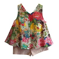 2 pieces set Kids clothes set Bow Toddler Kids Baby Girls Outfit Clothes Floral Vest T-shirt+Shorts girls clothes set summer