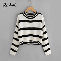 ROMWE Black And White Drop Shoulder Striped Sweater Women Casual Autumn Winter Round Neck Long Sleeve Clothes Spring Pullover