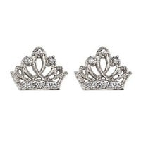 Sterling Silver Rhodium Plated Crown Children Stud Earrings with Screw-back