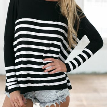 Black Striped Long Sleeve Knitted T-shirt