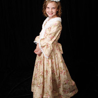 Handmade Historical Civil War Costume Victorian Colonial Pioneer Girl Dress -Champagne Felicia-Child