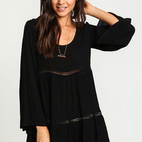 Black Crochet Bell Crepe Dress - LoveCulture