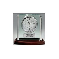 Personalized Desk Clock with Silver Post Suspended on Acrylic and Silver Engraving Plate Employee Recognition Retirement Award Cowoker Boss