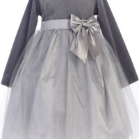 Silver Long Sleeve Velvet & Glitter Tulle Girls Holiday Dress 6m-10