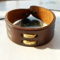 Spring Gift Trend Style Western Nature Brown leather Cuff Cotton Cord Cross Wrap Bracelet  C-60